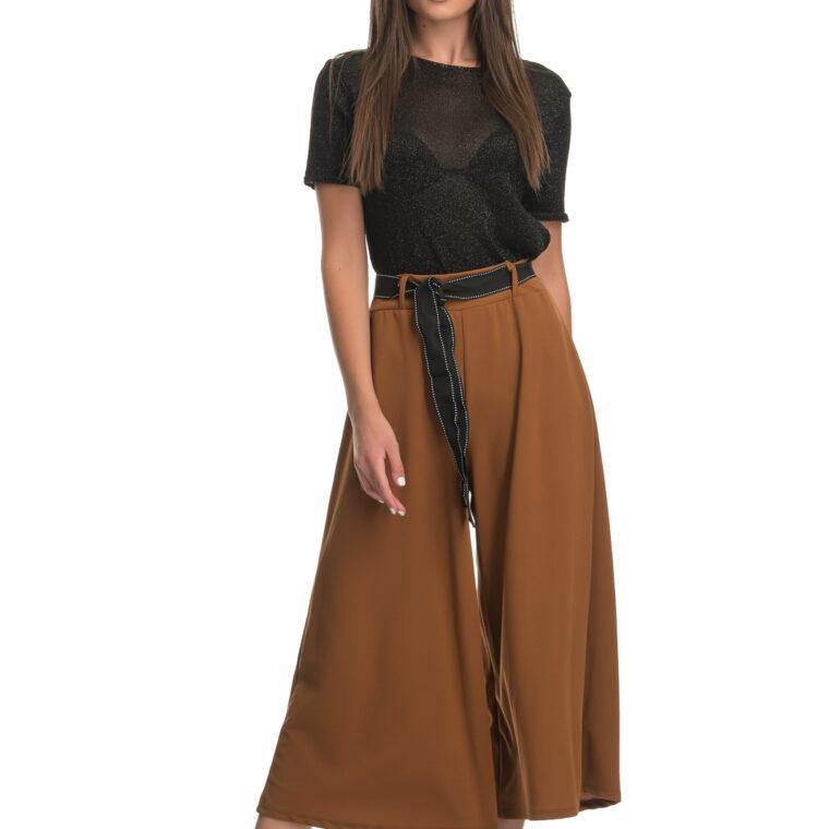 Παντελόνα με μαύρη ζώνη καφέ