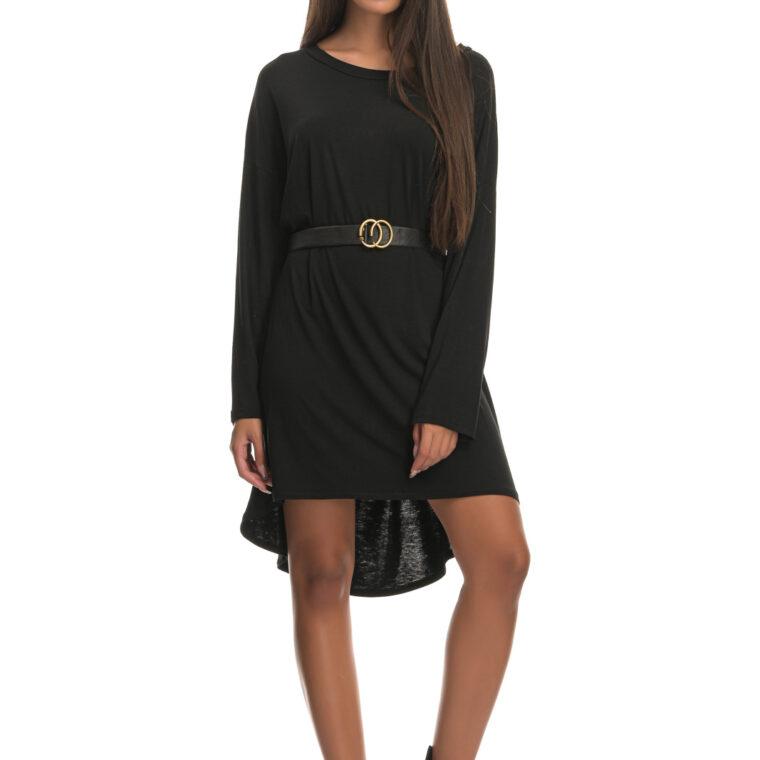 Μπλουζοφόρεμα με ζώνη με αγκράφα μαύρο