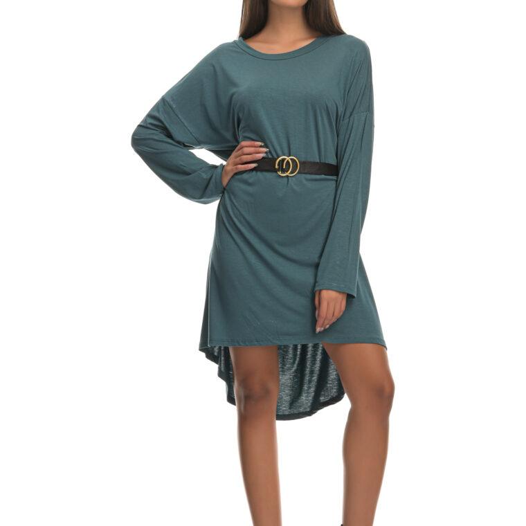 Μπλουζοφόρεμα με ζώνη με αγκράφα πετρόλ