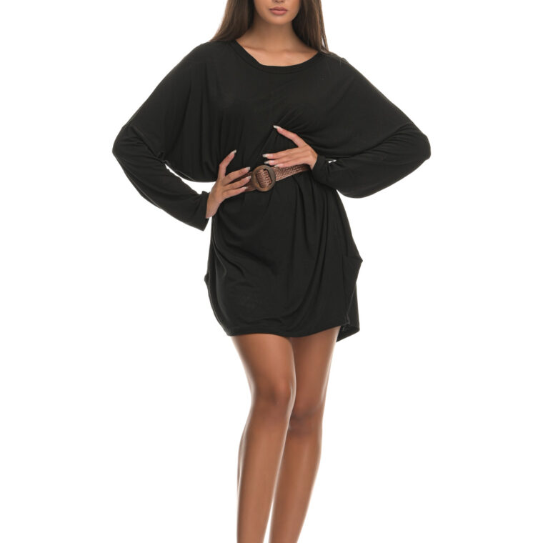 Μπλουζοφόρεμα με ζώνη μαύρο