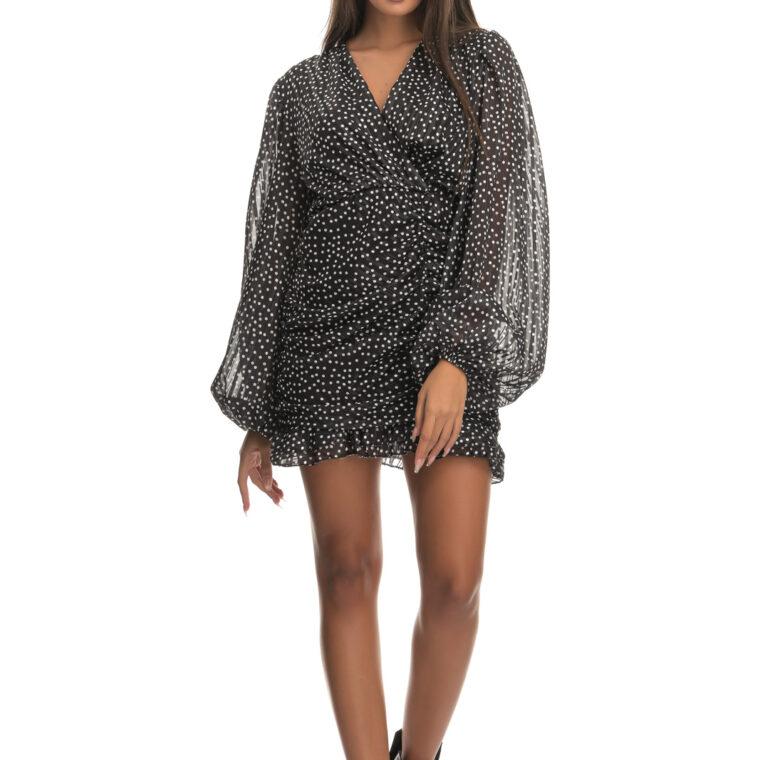 Φόρεμα κοντό πουά γυαλιστερό με σούρες μαύρο