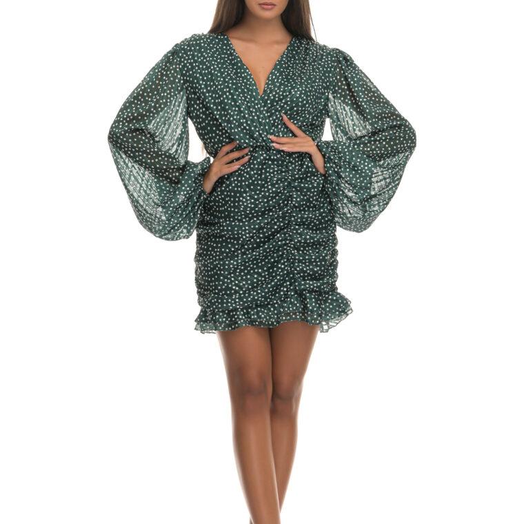 Φόρεμα κοντό πουά γυαλιστερό με σούρες πράσινο
