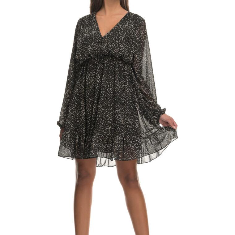 Φόρεμα κοντό με σχέδιο καρδούλες μαύρο