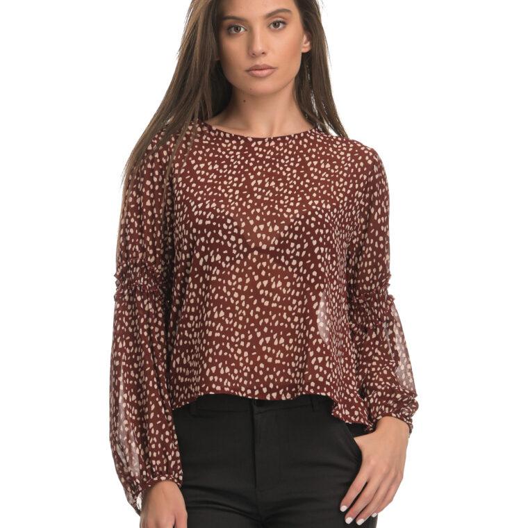 Κεραμιδί μπλούζα με animal print