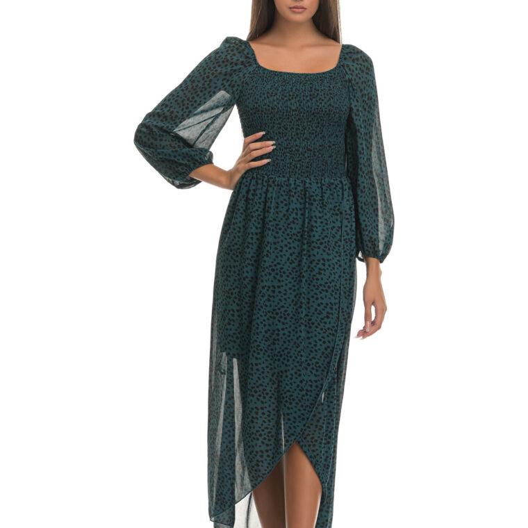 Φόρεμα μακρύ με λεοπάρ print και σφιγγοφωλιά στη μέση σε πετρόλ χρώμα