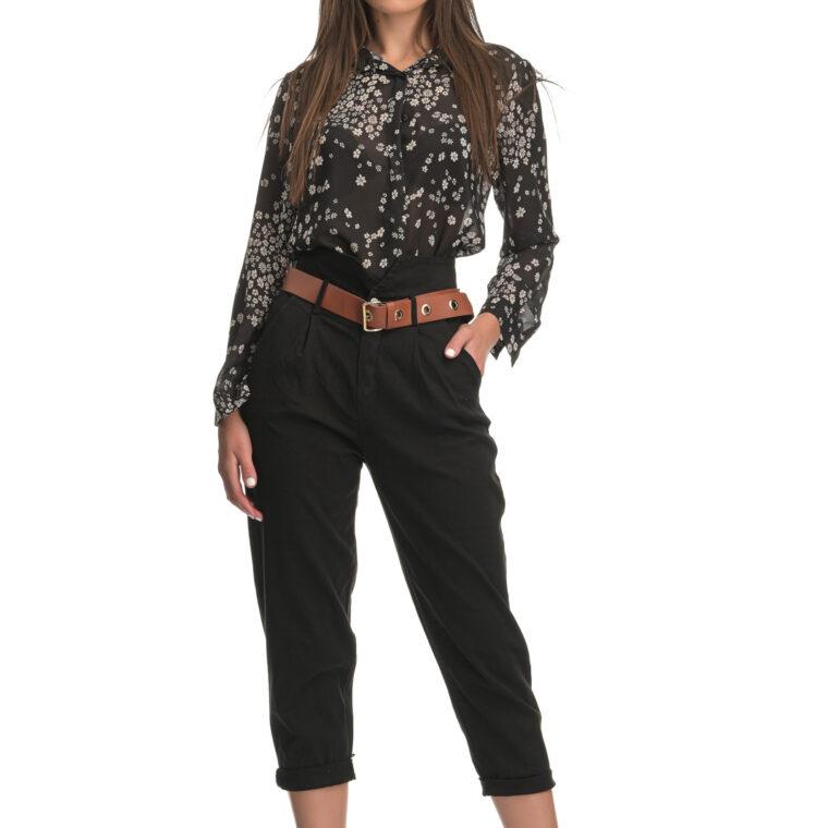 Μαύρο ψηλόμεσο παντελόνι με ταμπά ζώνη