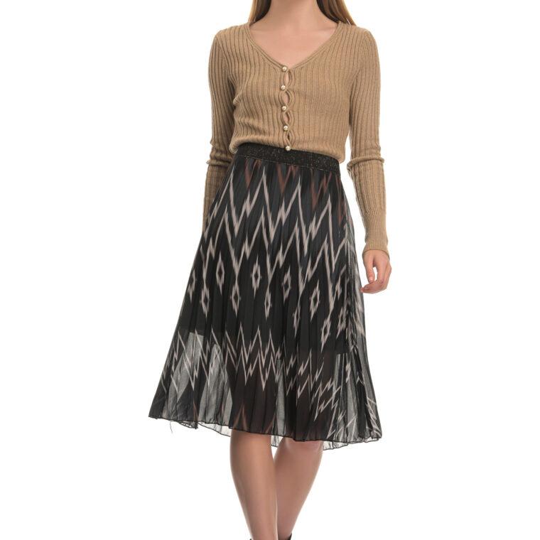 Φούστα πλισέ λεοπάρ με λάστιχο μπεζ-μαύρο