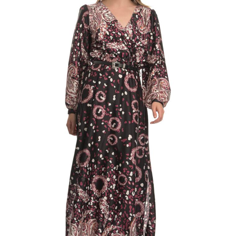 Μαύρο μωβ φόρεμα μακρύ με σχέδιο λαχούρι και ζώνη