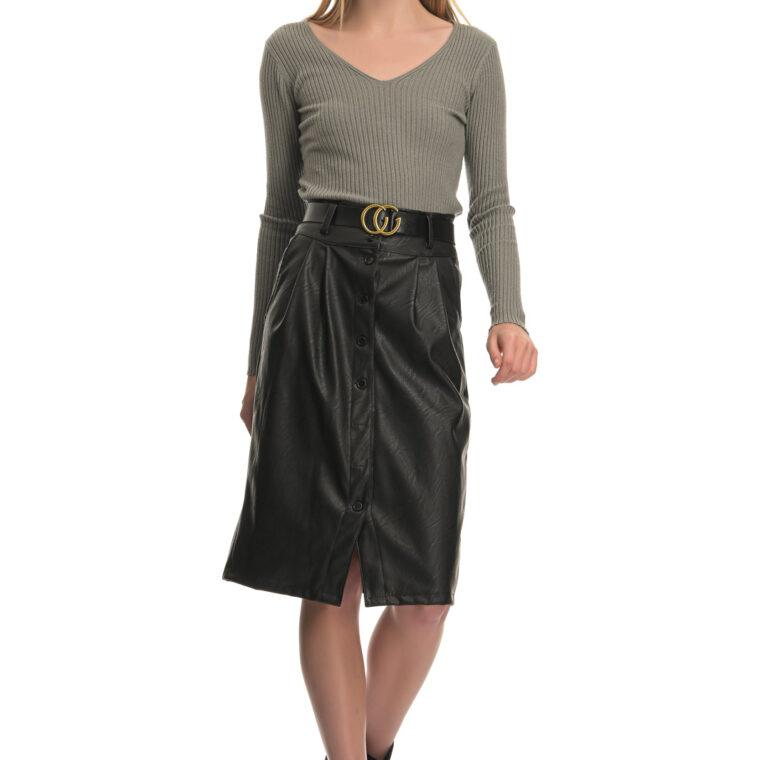 Μαύρη φούστα από δερματίνη με κουμπιά και ζώνη