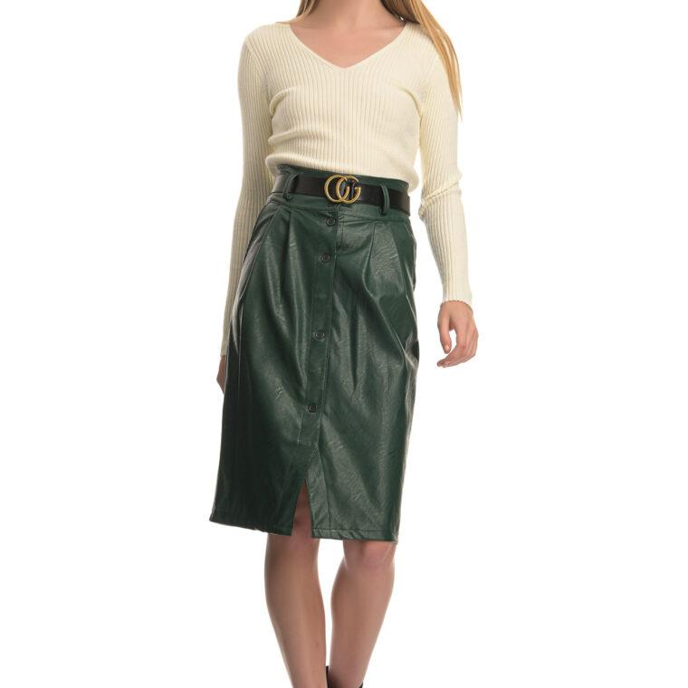 Πράσινη φούστα από δερματίνη με κουμπιά και ζώνη