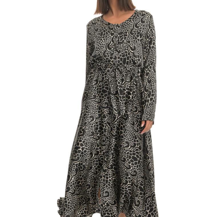 Μαύρο άσπρο φόρεμα  μακρύ με κουμπιά και ζώνη