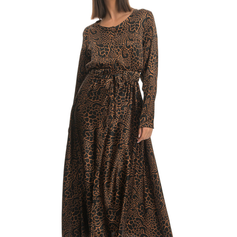 Καφέ μαύρο φόρεμα μακρύ με κουμπιά και ζώνη