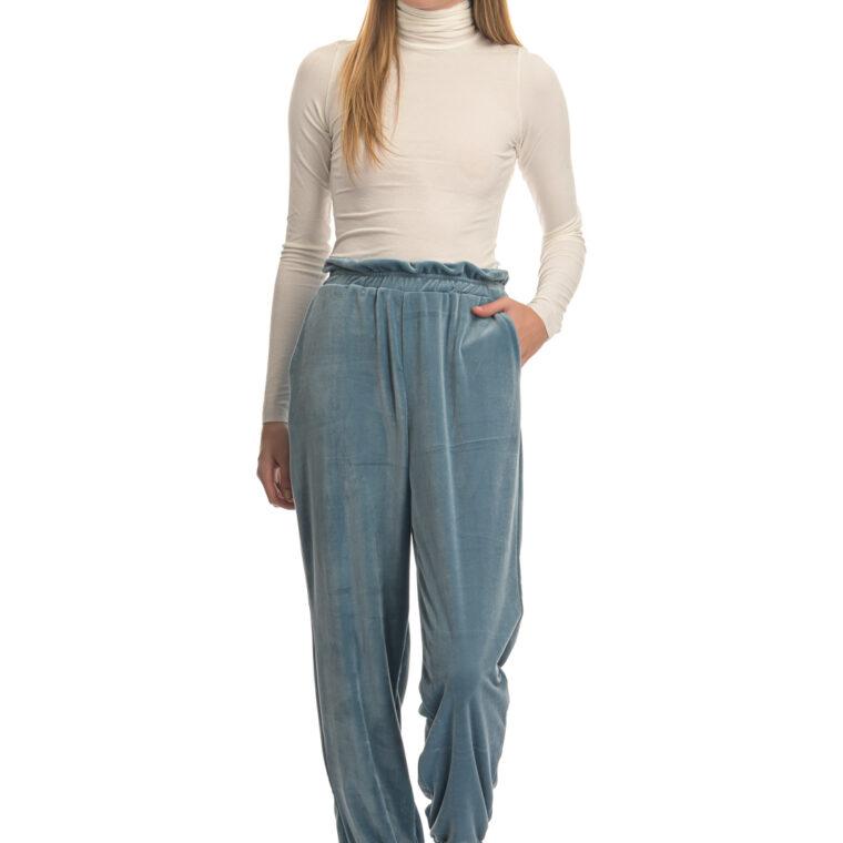 Γαλάζιο βελουτέ παντελόνι φόρμας με λάστιχο στον αστράγαλο