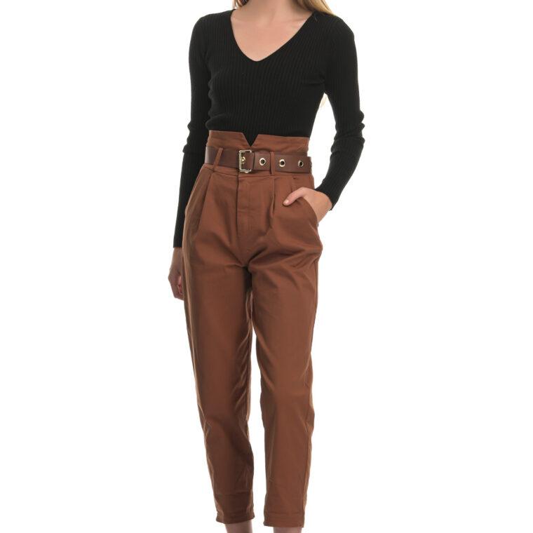 Καφέ ψηλόμεσο παντελόνι με ταμπά ζώνη