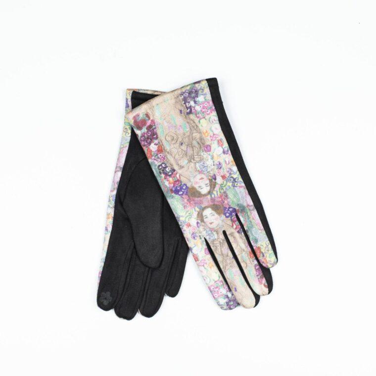γάντια με μοτίβο πίνακα ροζ
