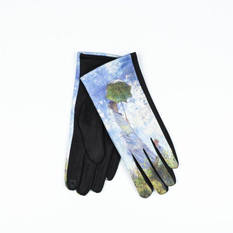 γάντια με μοτίβο πίνακα γαλάζιο