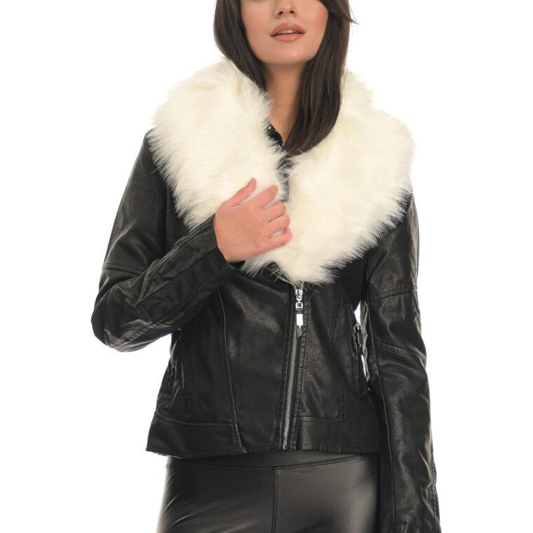 Μαύρο μπουφάν δερματίνη με γούνα άσπρη