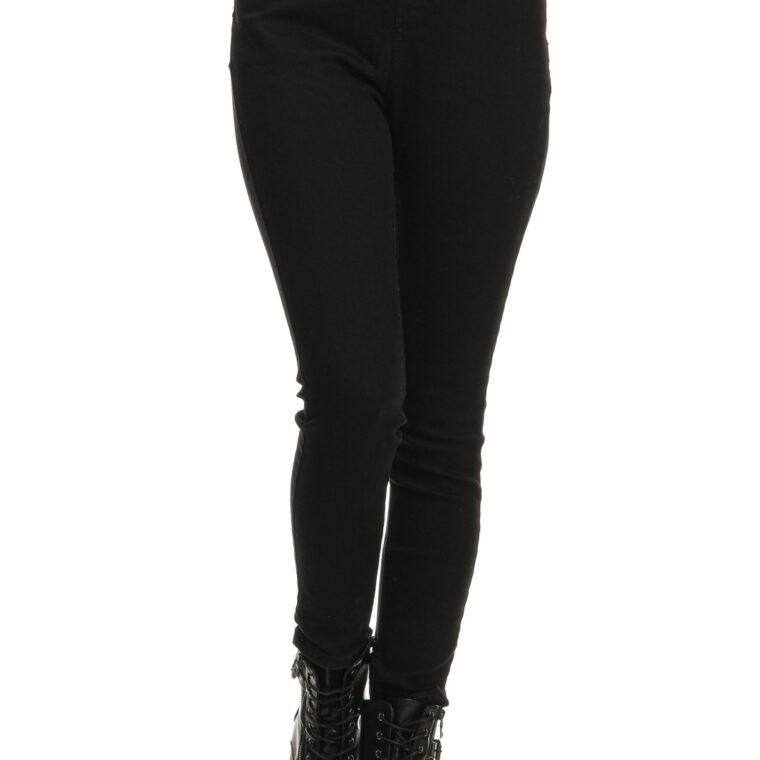Μαύρο τζιν ελαστικό παντελόνι με λάστιχο στη μέση