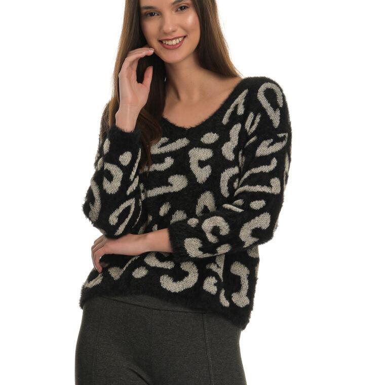 Μαύρο χνουδωτό πουλόβερ με λεοπάρ μοτίβο