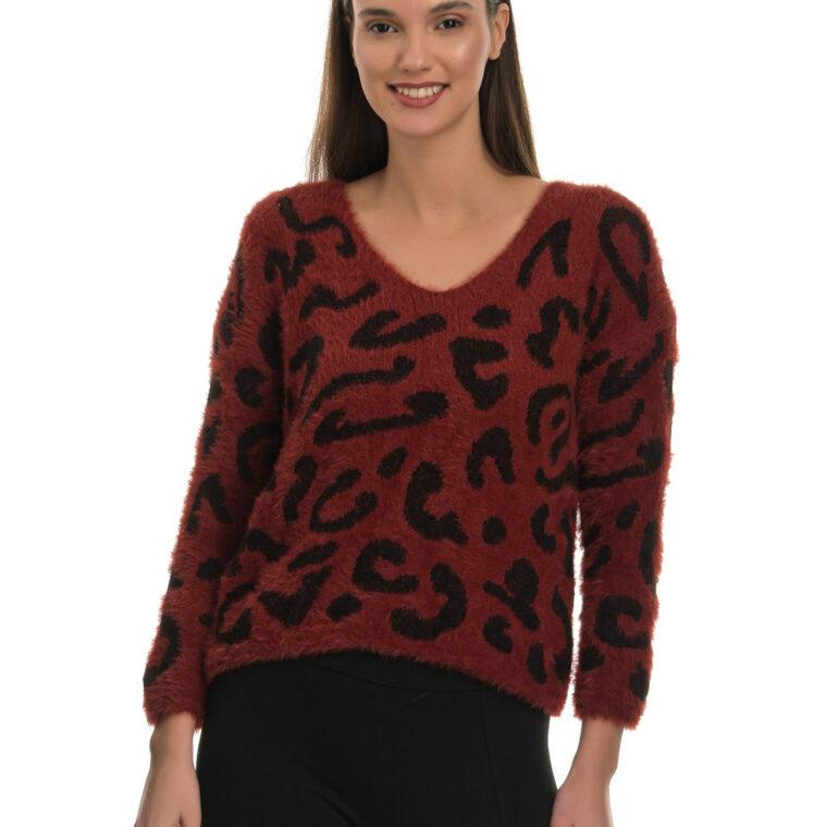 Μπορντό χνουδωτό πουλόβερ με λεοπάρ μοτίβο