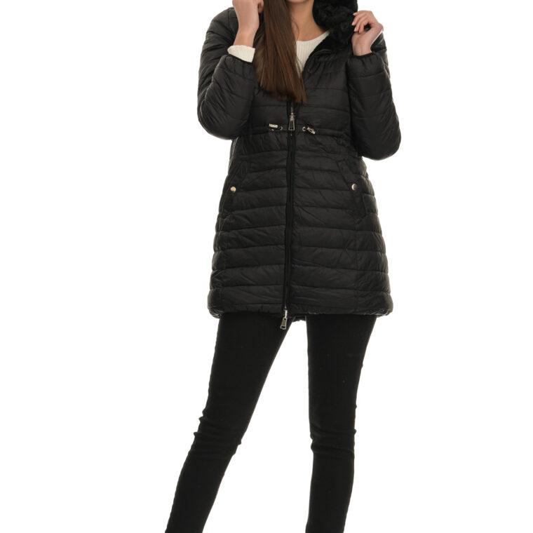 Μαύρο μπουφάν διπλής όψεως με κουκούλα και φερμουάρ