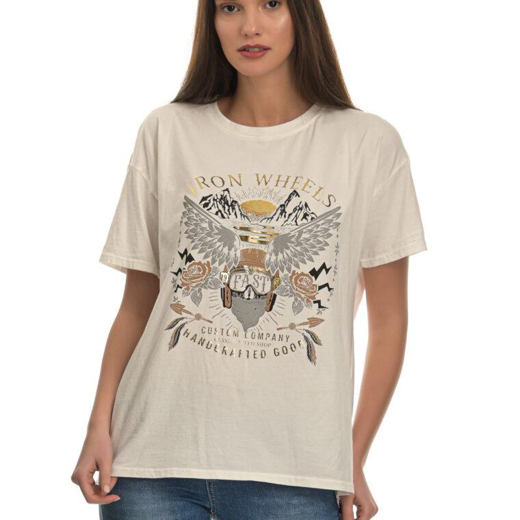 Άσπρη κοντομάνικη μπλούζα με στάμπα σε φαρδιά γραμμή
