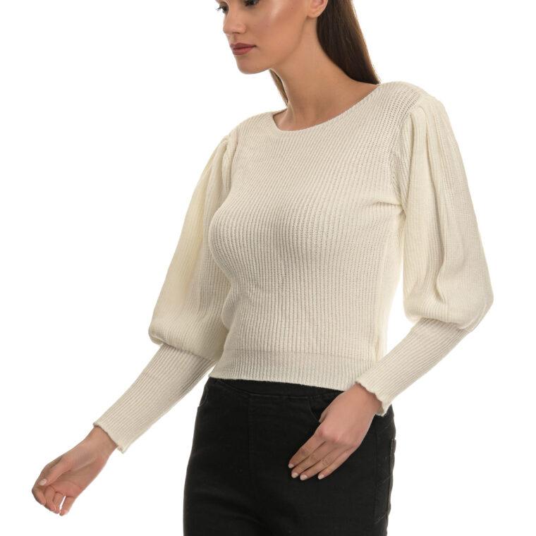 Άσπρο λεπτό πουλόβερ με φουσκωτά μανίκια