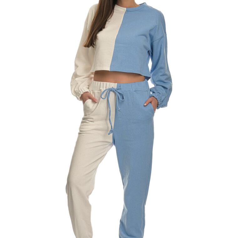 Άσπρο-γαλάζιο βαμβακερό σετ φόρμας με φούτερ και παντελόνι