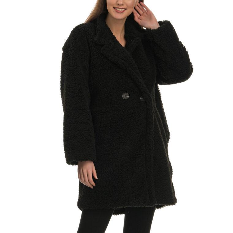 Μαύρο παλτό με σγουρή πλέξη και κουμπιά