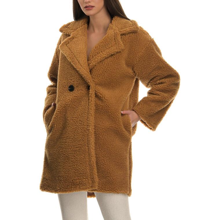 Μπεζ παλτό με σγουρή πλέξη και κουμπιά