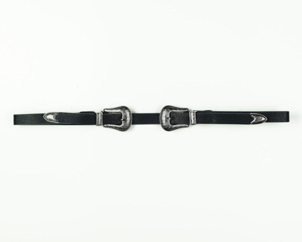Μαύρη ζώνη λεπτή με διπλή ασημί αγκράφα