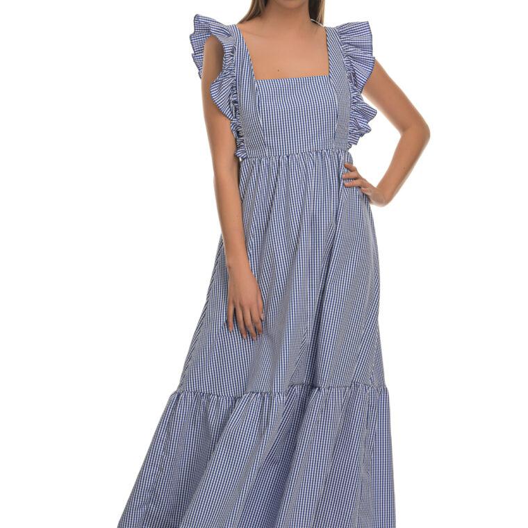 Καρό μακρύ φόρεμα μπλε
