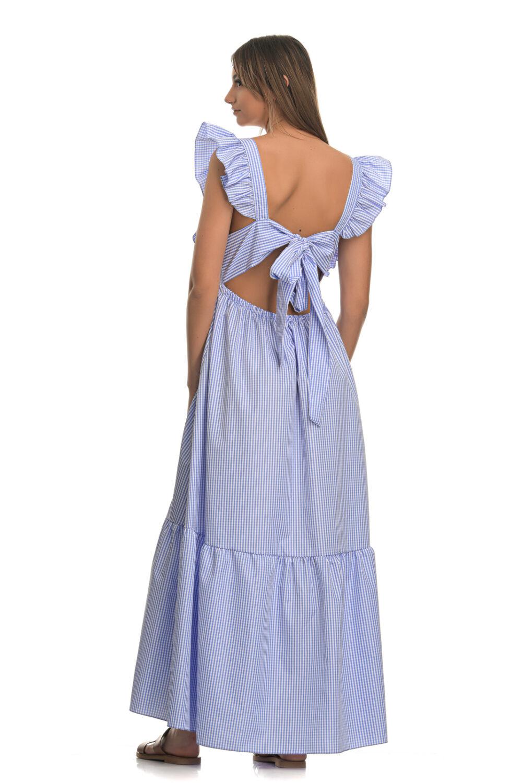 Καρό μακρύ φόρεμα γαλάζιο