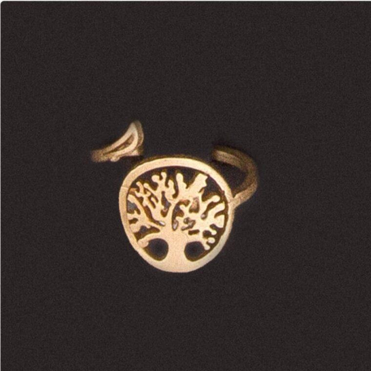 Δαχτυλίδι με σχέδιο το δέντρο της ζωής χρυσό