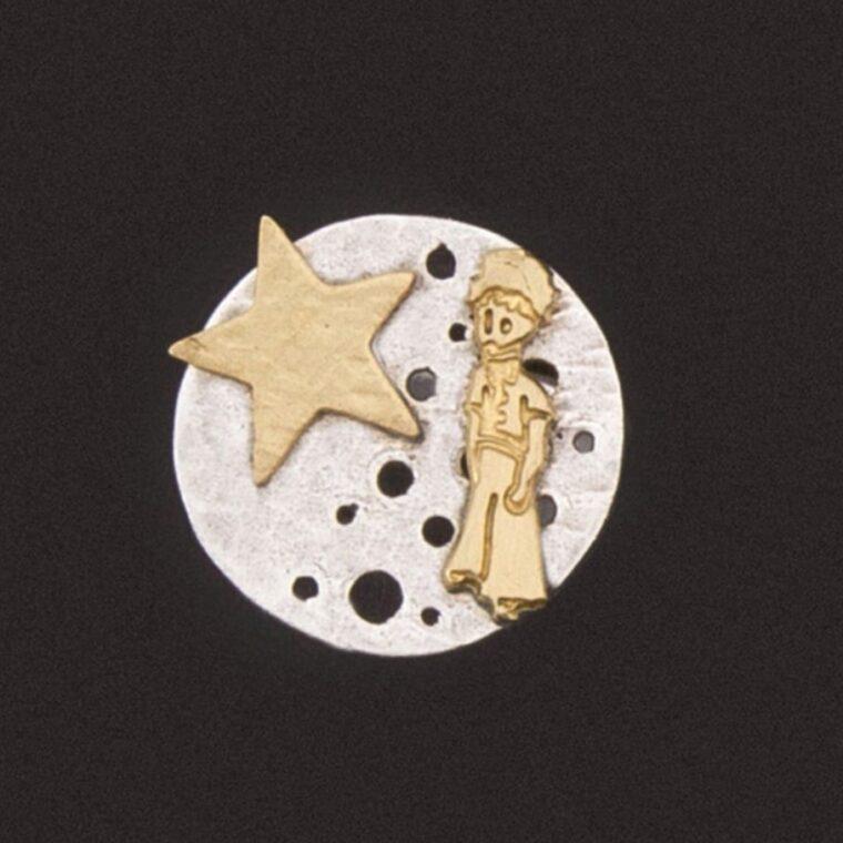 Δαχτυλίδι με σχέδιο μικρός πρίγκιπας και αστέρι ασημί και χρυσό