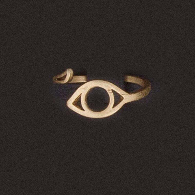 Δαχτυλίδι με σχέδιο μικρό ματάκι χρυσό
