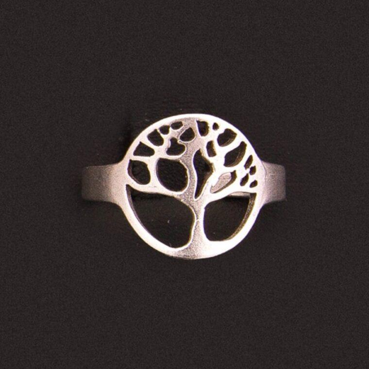 Δαχτυλίδι με σχέδιο δέντρο ασημί
