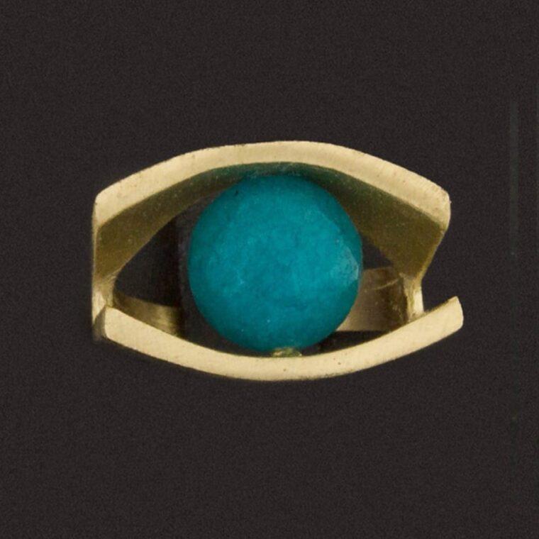 Δαχτυλίδι σε χρυσό χρώμα με γαλάζια πέτρα