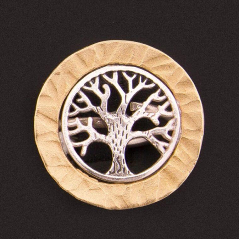 Δαχτυλίδι με σχέδιο το δέντρο της ζωής σε ασημί και χρυσό χρώμα