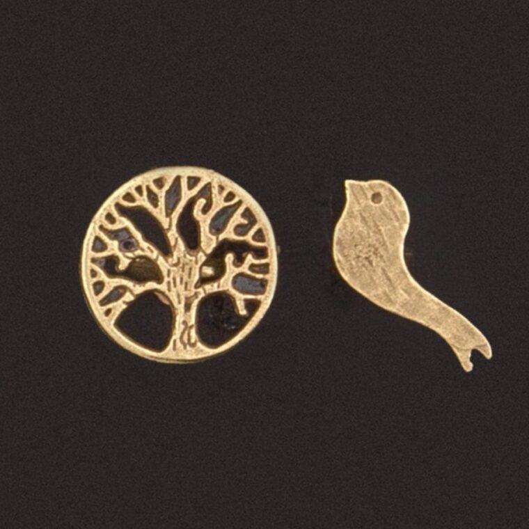 Δαχτυλίδι με διπλό σχέδιο δέντρο της ζωής και πουλάκι χρυσό