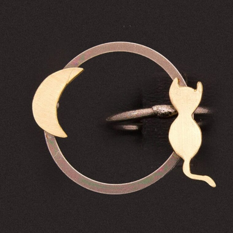 Δαχτυλίδι στρογγυλό με διπλό σχέδιο γατάκι και μισοφέγγαρο ασημί