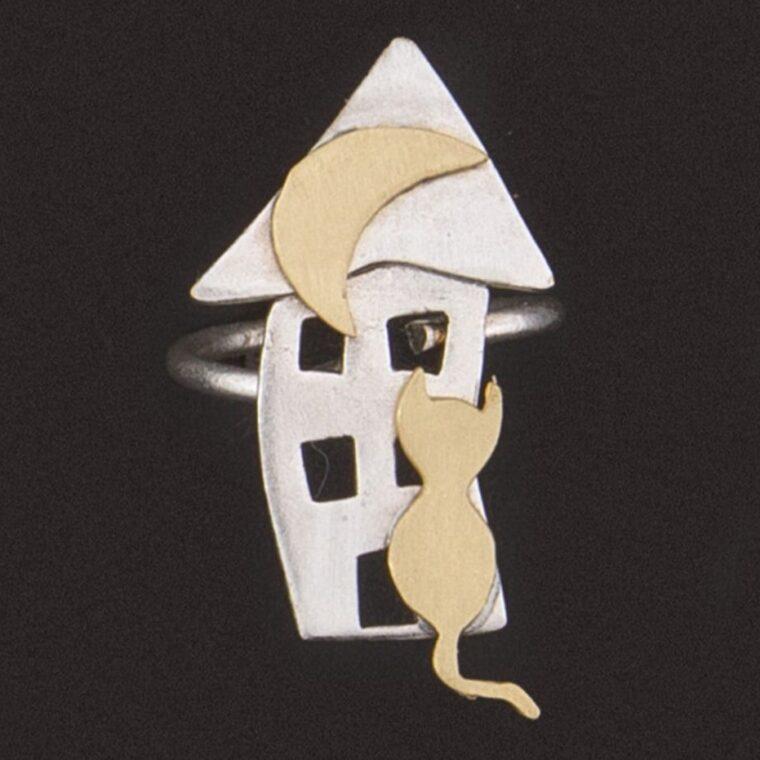 Δαχτυλίδι ασημί με σχέδιο χρυσό σπιτάκι και γατάκι