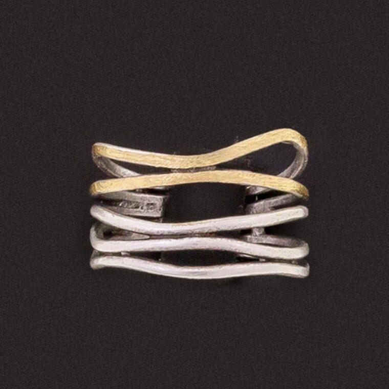 Δαχτυλίδι διπλό σε ασημί και χρυσό χρώμα