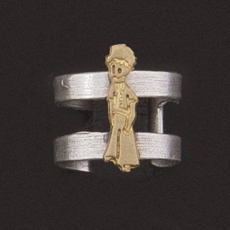 Δαχτυλίδι ασημί με σχέδιο μικρό πρίγκιπα σε χρυσό χρώμα