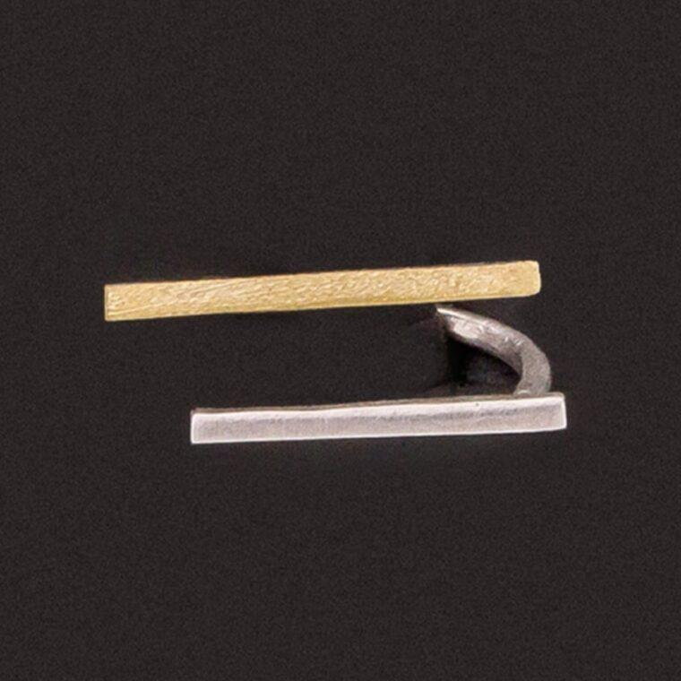 Δαχτυλίδι με διπλό σχέδιο ασημί και χρυσό