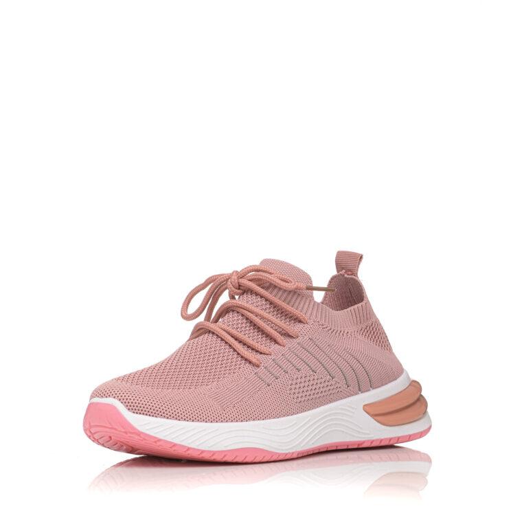 Αθλητικό υφασμάτινο με άσπρη σόλα και κορδόνια ροζ