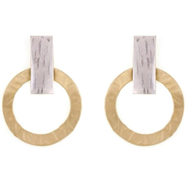 Σκουλαρίκια με σχέδιο χρυσοί κύκλοι σε ασημί βάση