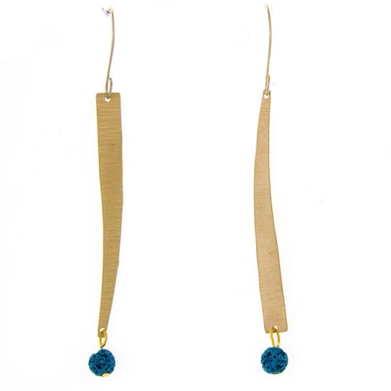 Σκουλαρίκια μακριά χρυσά με χρωματιστές διακοσμητικές πέτρες