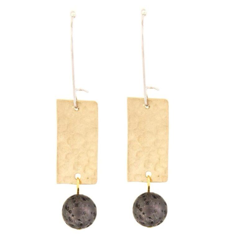 Σκουλαρίκια χρυσά με χρωματιστές διακοσμητικές πέτρες