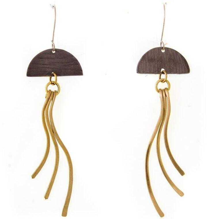 Σκουλαρίκια μακριά χρυσά με μαύρη βάση